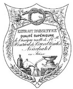 """Erstes Original Absinthe-Etikett der Mutter Henriod. Eine Aumage an die Erfinderin des ersten Absinthes wird in dem vorderen Etikett des heute erhältlichen Absinthes """"Biosinthe"""" sichtbar. Die Form entspricht exakt dem ersten Etikett von Suzanne-Margeritte Henriod aus dem Jahre 1769."""